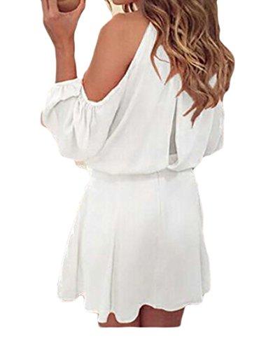 Coolred-femmes Salon En Mousseline De Soie Coupe Solide À Manches Longues En Robe Soleil Épaule Blanche
