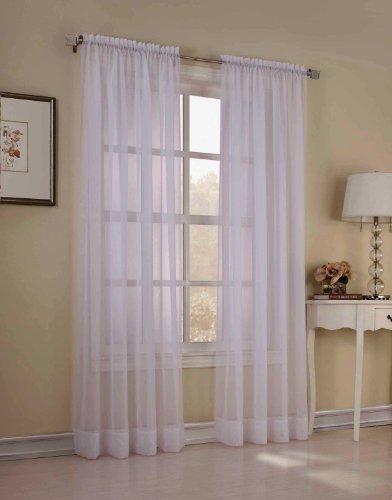 Élégance 2 Piece Solid White Sheer Window Curtains/Drape/Panels/Treatment 55
