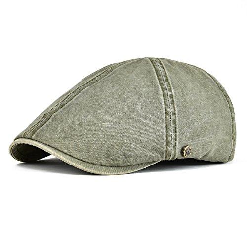 Cotton Ivy Hat - VOBOOM Ivy Caps 100% Cotton Washed Plain Flat Caps Newsboy Caps Cabbie Hat (59cm-60cm=7 3/8-7 1/2, Army Green)