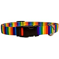 "Rainbow Stripes Dog Collar - Size Small 10"" to 14"" Long - Made In The USA"
