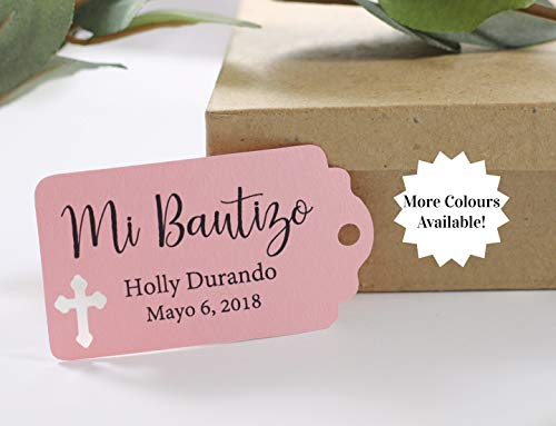 Mi Bautizo Favor Tags - Small Personalized Baptism Labels (Set of - Personalized Favor Card