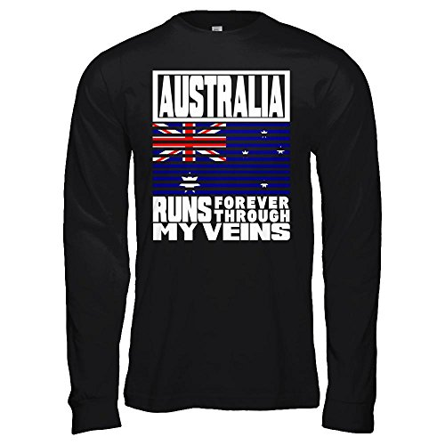 Teely Shop Women's Australia Puerto Rico Runs My Veins Retro Flag Bella Canvas - Unisex Jersey Long Sleeve (Ash School Pride T-shirt)