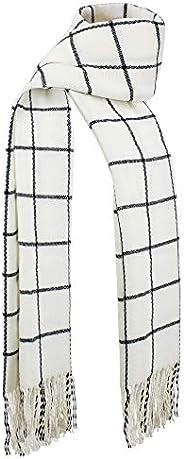 DAZCOS Plaid Scarf Winter Warm Unisex Soft Black Striped Anime Natsu Costume