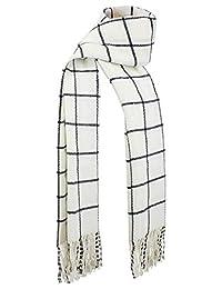 DAZCOS Plaid Scarfs Winter Warm Unisex Soft Black Striped Anime Natsu Scarfs (Ivory)