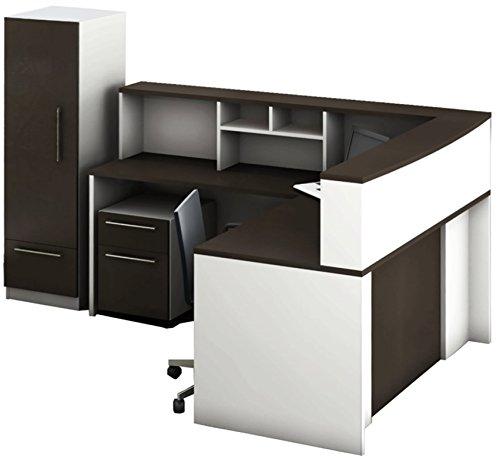 Espresso File Carts (OfisLite 6 Piece 2413 Reception Center Desk Complete Group Including Fabulous Storage Cabinet Plus Mobile Filing Cart, White/Espresso)