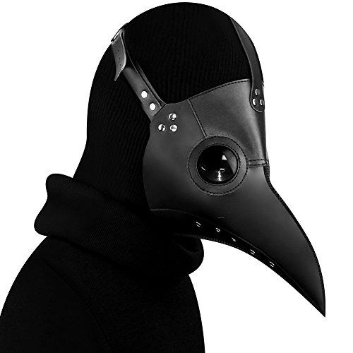 IDOXE Plague Doctor Bird Mask Long Nose Beak Cosplay Steampunk Halloween Costume Props Black