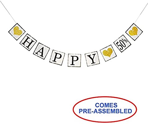 amazon com vintage happy 50th birthday banner 50th wedding
