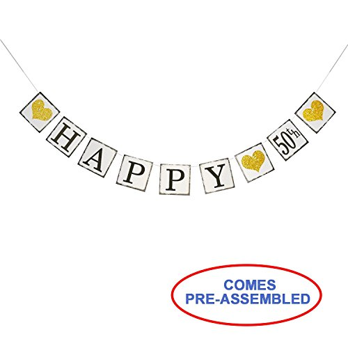 Vintage Happy 50th Birthday Banner – 50th Wedding Anniversary Decorations - Milestone Birthday Party Decorations -