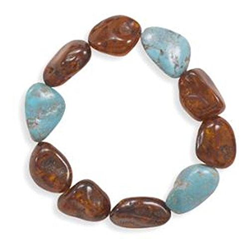 Cognac Baltic Amber with Reconstituted Turquoise Bracelet Stretch to Fit