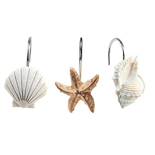 AGPtek 12 PCS Fashion Decorative Home Bathroom Seashell Shower Curtain Hooks (Seashell: Light Brown, Starfish: Tan, Conch: Light Brown)