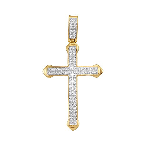 1/4 Ct Diamond Cross Pendant (10kt Yellow Gold Mens Round Diamond Christian Cross Charm Pendant 1/4 Cttw)