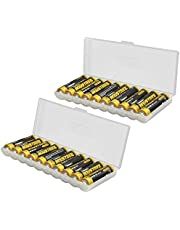 Whizzotech Clear Plastic Healthy Case for AAA Battery Storage Box Holder/Organizer/Container Holds 10 AAA Batteries, 2 Pack