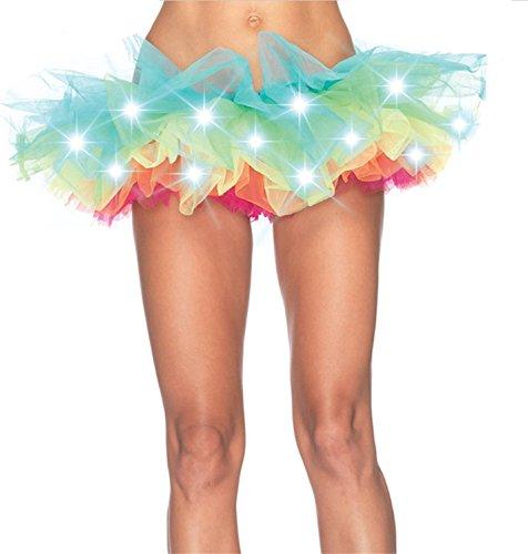 Musamk Voluptuous Women Rainbow Tutu Skirt with Lights Attractive (Old Lady Halloween Makeup Tutorial)