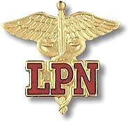 Prestige Medical Emblem Pin, LPN (Letters on Caduceus)