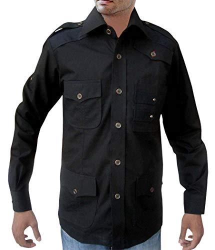 INMONARCH Safari Costume Black Cotton CrocodileHunter Costume Hunting Bush Shirts HS110MEDIUM M (Medium) Black