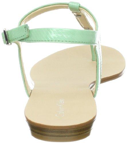 Calvin Klein Women's Samira New Patent Lizard Thong Sandal,Pale Green,10 M US