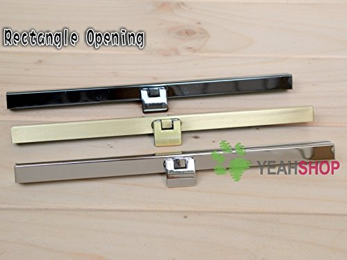 3PCS 19cm / 7.5 inch Straight Channel Diva Purse Frame Wallet Clasp - Rectangle Opening (Antique Brass) from Purse Frames
