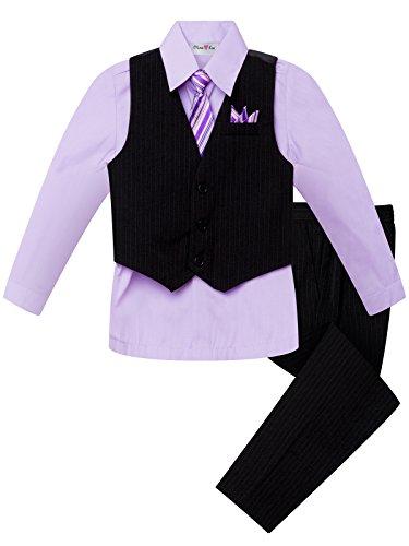 OLIVIA KOO Boys Colored Shirt Pinstripe 4 Piece Pinstriped Vest Set Size Infant-Boy,Lilac,6