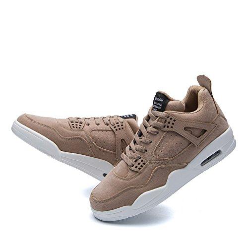 KRIMUS Herren Walking Sneakers Luftpolster Schuhe Atmungsaktive Laufschuhe von Hellbraun