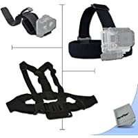 Xtech® Replacement GoPro HERO4 Head Strap mount + Chest Strap Mount + Camera Wrist Strap Mount Kit for GoPro HERO4 Camera