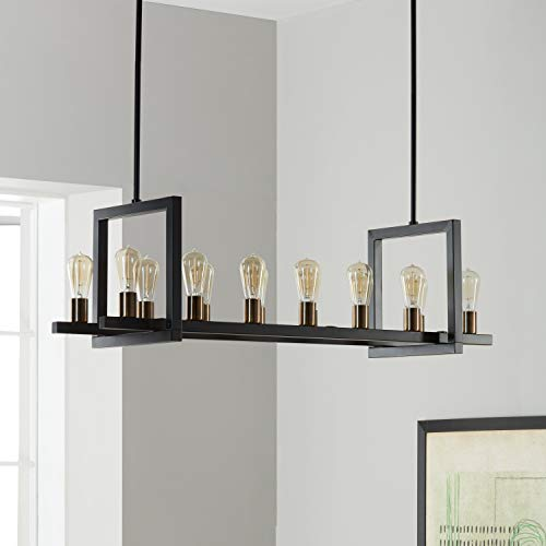 Transitional Distressed Black Chandelier - Griffin Metal Rectangular 14-light Chandelier