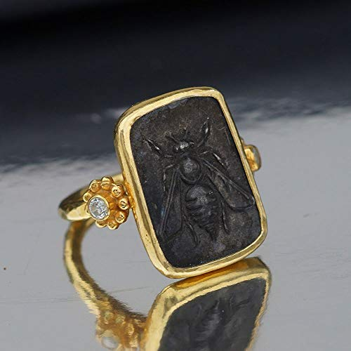 Bee Oxidized Coin Ring W/White Topaz Hammered Handmade Sterling Silver Design By Omer 24k Gold Vermeil