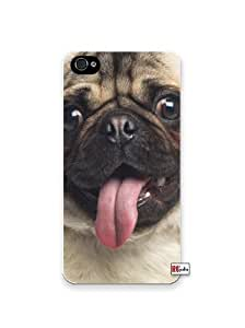 Happy Pug Dog Panting Tongue iphone 4s Quality Hard Snap On Case for iphone 4s - AT&T Sprint Verizon - White Case