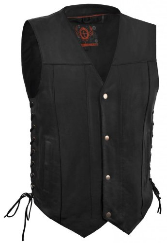 - True Element Mens Single Panel Back Leather Motorcycle Vest with Concealed Carry Gun Pocket (Black, Size L)