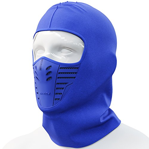 Cevillo Balaclava Face Mask | Windproof and Dustproof Ski Mask Hoodie Style | Skiing and Outdoor Sports | Polyester Cotton Headwear | Men and Women (Blue)
