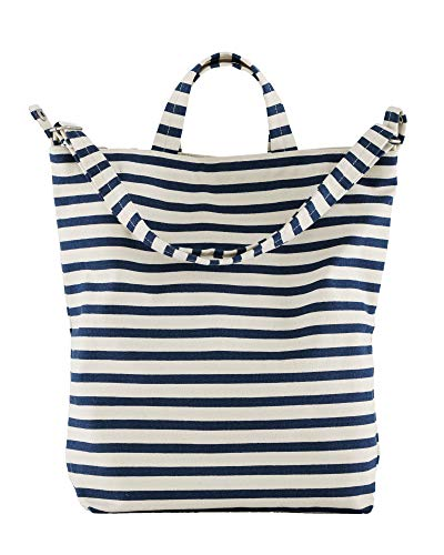 BAGGU Duck Bag Canvas Tote, Essential Tote, Spacious and Roomy, Sailor Stripe
