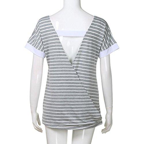shirt T Été Blouse Ado Chic Femme Imprimé Dos Fille Décolleté Rayures Angelof V Courtes Ample Top Gris Manches Hw5gdq