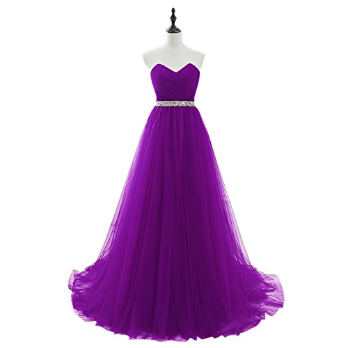 Dress Women for Wedding Elegant Long Tulle Beaded BessWedding Purple2 Prom Bridal Gowns 6qvzwY6nC