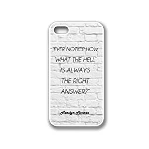 Marilyn Monroe Quote - Ever Notice How 'What The Hell' White Bricks iPhone 4 White Case - For iPhone 4/4S/4G White - Designer TPU Case Verizon AT&T Sprint
