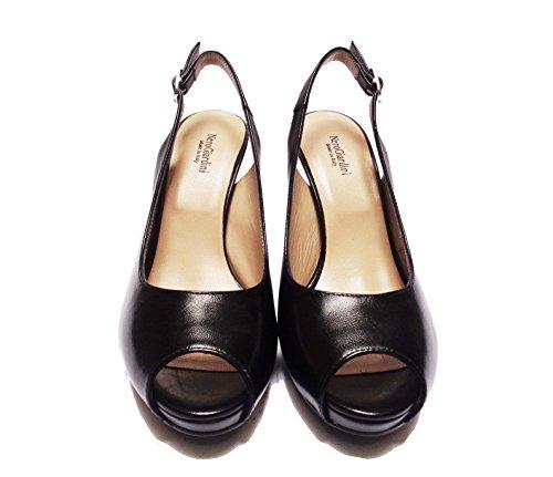 Nero Giardini 5410 Sandales Chanel Pour Femmes En Cuir Noir Talon Cm. 9, Num. 39