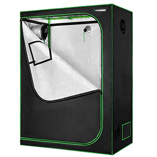 "VIVOSUN 48""x24""x60"" Mylar Hydroponic Grow Tent with Observation Window and Floor Tray for Indoor Plant Growing 2"