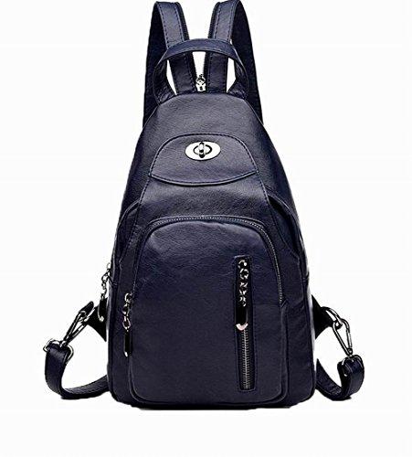 Foncé Pu dos Bleu Cuir à l'école Daypack Femme AgooLar Sacs Zippers à Aller w6qzn7ZX