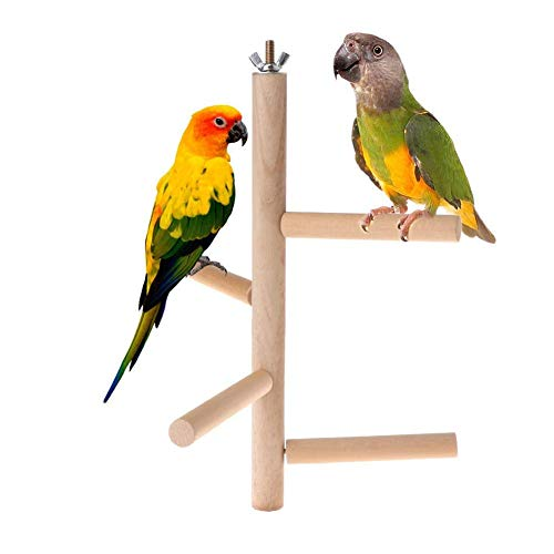 sweetyhomes Bird Cage Perch Stand, Parrot Wooden Branches Stands for Birdcage, Rotating Station 4 Level Round Wooden Standing Ladder Stairs, Bird Cage Climbing Toy Stand Play Activity Center