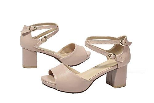 rosa vestito Agoolar Pu fibbia Open Gmxlb009826 con sandali solidi Women Toe per PwfarPq7
