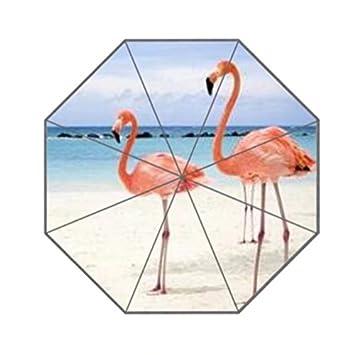Rosa flamencos en la playa personalizada plegable lluvia paraguas resistente al viento resistente al viento Floding
