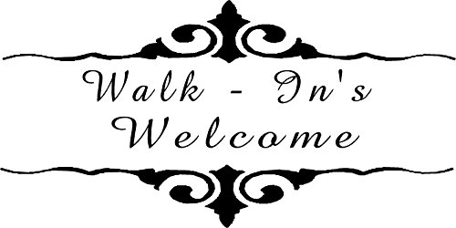 Walk in's welcome , custom hair saloon barber shop vinyl window decal (Window Saloon)