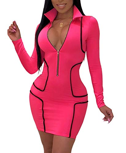 YIQ8 Women's Sexy Zipper Deep V Neck Bodycon Mini Party Club Dresses Rose -