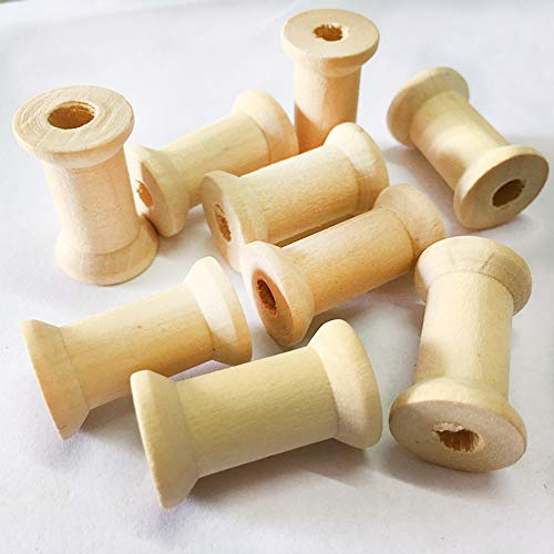 20 Pieces Unfinished Wooden Spools Thread Bobbins Cord Wire Coils Sewing Notions 27mmX16mm