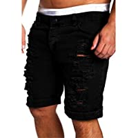 Gloous Men's Fashion Casual Jeans Destroyed Knee Length Hole Ripped Pants