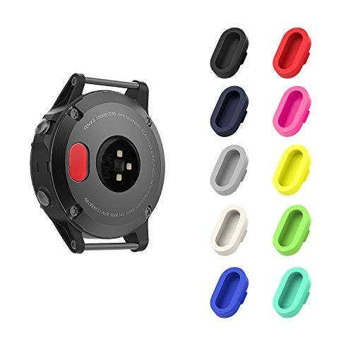 MoKo Dust Plug Compatible with Garmin Fenix 5/5S/5X/6/6S/6X/6 Pro/6S Pro/6X Pro/Forerunner 935/Vivoactive 4/4S/Venu, [10 Pack] Silicone Charger Port Protector Anti Dust Plugs Caps, Multi Colors B