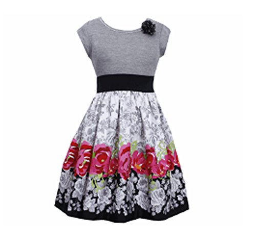 Denim And Poplin Skirt (Bonnie Jean Little Girls' Dress Knit To Floral Poplin Skirt, Grey,)