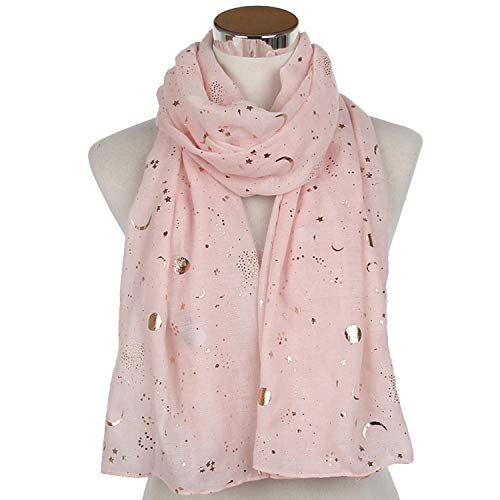 (NEW Fashion Navy Star Moon Foil Gold Scarf For Womens Chirstmas Gifts Pink)