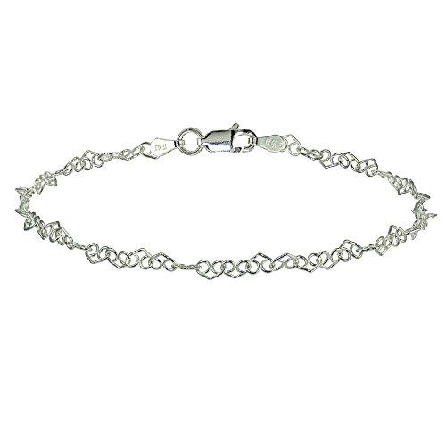 Sterling Silver 3.5mm Intertwining Hearts Link Chain Bracelet