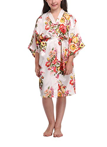(Floral Satin Kimono Robes for Girls Getting Ready Robes for Wedding Party White)