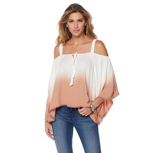 Colleen Lopez Sunset Cold-Shoulder Ombre Top Bell Slv Sand White M New - Lopez Sun