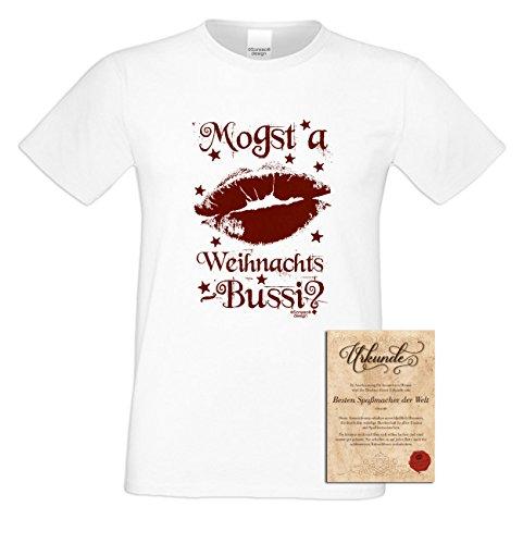 T-Shirt - Mogst a Weihnachts Bussi - Weihnachtsshirt als Outfit für die Festtage